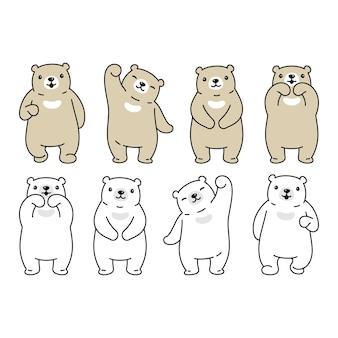 Urso polar personagem cartoon ilustração de pelúcia