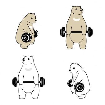 Urso polar personagem de desenho animado haltere esporte ginásio treinamento