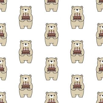 Urso, polar, seamless, padrão, bolo aniversário, caricatura, ilustração