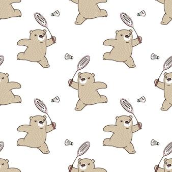 Urso polar seamless pattern badminton sport ilustração