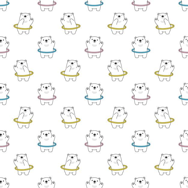 Urso polar seamless pattern hoop cartoon personagem de desenho animado