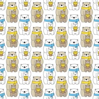 Urso polar seamless pattern ilustração dos desenhos animados de mel