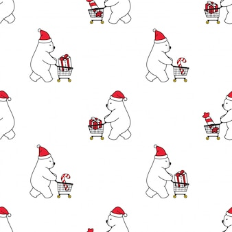 Urso polar seamless pattern natal santa claus shopping cart