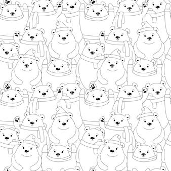 Urso polar sem costura de natal