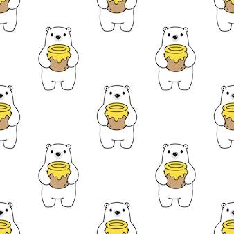 Urso polar sem costura desenho de peluche de mel