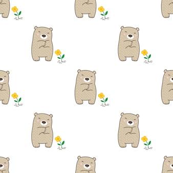 Urso polar sem costura flor desenho animado de pelúcia