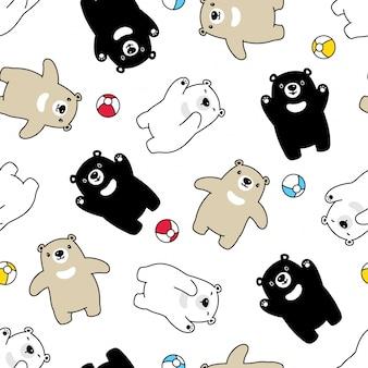 Urso polar sem costura padrão balão cartoon