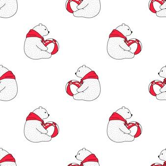 Urso polar sem costura padrão bola ilustração