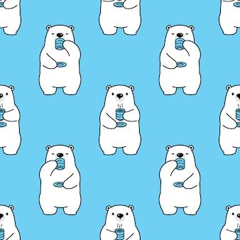 Urso polar sem costura padrão café chá