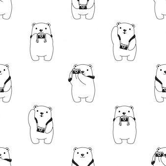 Urso polar sem costura padrão câmera teddy