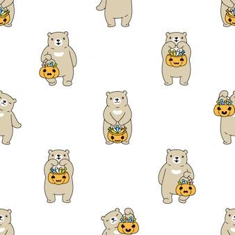Urso polar sem costura padrão desenho animado cesta de doces de halloween