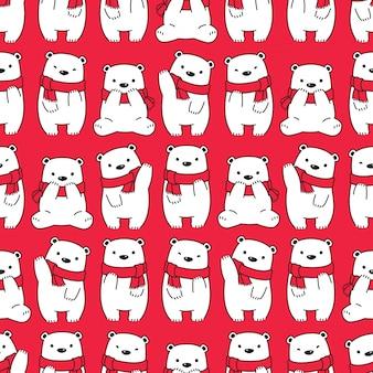 Urso polar sem costura padrão desenho de cachecol de natal
