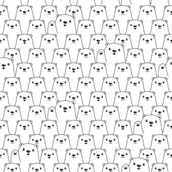 Urso polar sem costura padrão dos desenhos animados