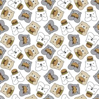 Urso polar sem costura padrão hambúrguer desenho animado