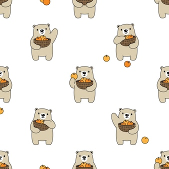 Urso polar sem costura padrão laranja cesta de frutas desenho animado