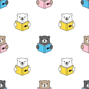 Urso polar sem costura padrão lendo livro