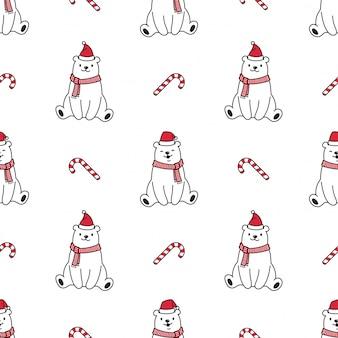 Urso polar sem costura padrão natal papai noel chapéu ilustração