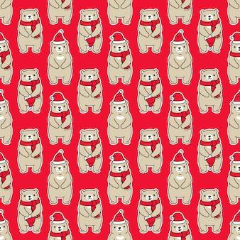 Urso polar sem costura padrão natal papai noel