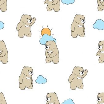 Urso polar sem costura padrão nuvem céu sol cartoon ilustração
