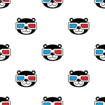 Urso polar sem costura padrão óculos desenho animado