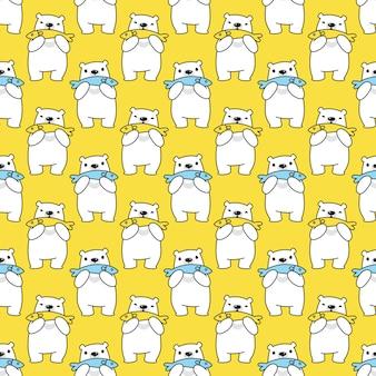 Urso polar sem costura padrão peixe desenho animado