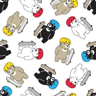 Urso polar sem costura padrão skaeboard