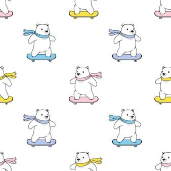 Urso polar sem costura padrão skate teddy
