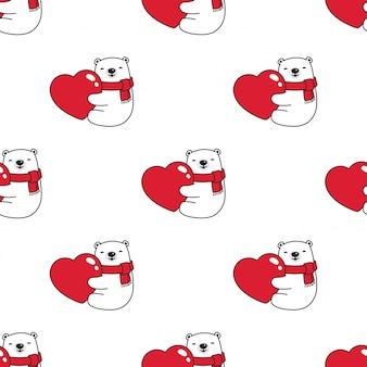 Urso polar sem costura padrão valentim coração