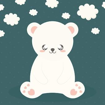 Urso polar sentado e nuvens no verde