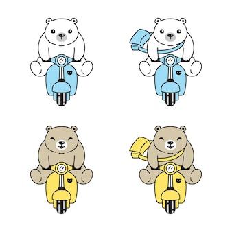 Urso polar teddy ridding bike cartoon ilustração personagem animal de estimação