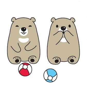 Urso polar urso bola sentado personagem de desenho animado