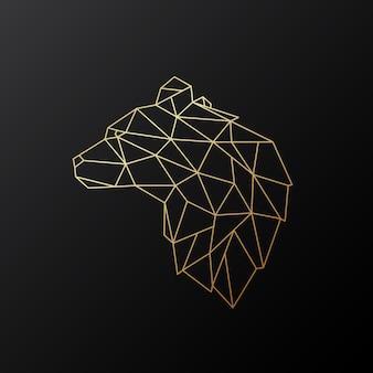 Urso poligonal dourado.