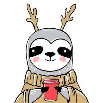 Urso-preguiça fofo com uma xícara de café, em um suéter feio ou jumper. doodle, estilo de desenho. cartão de natal. personagem engraçada de animais, preguiçoso natal.
