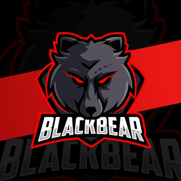 Urso preto mascote esport design de logotipo