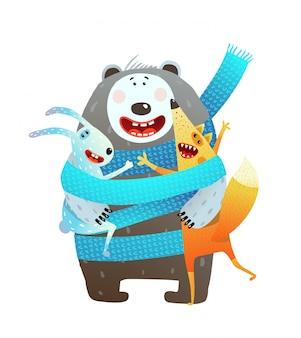 Urso raposa coelho juntos crianças cartoon