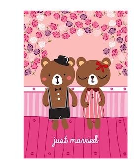Urso recém casado doodle de desenhos animados