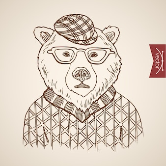 Urso retrato hipster estilo humano roupas acessório usando chapéu de óculos de pulôver.