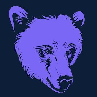 Urso, rosto, ilustração