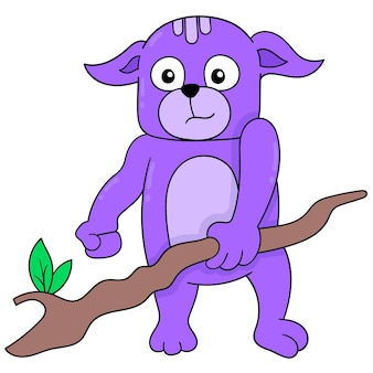 Urso roxo segurando uma varinha mágica de madeira. ícone do doodle kawaii.