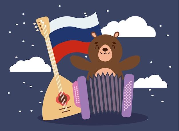 Urso russo e instrumentos com bandeira