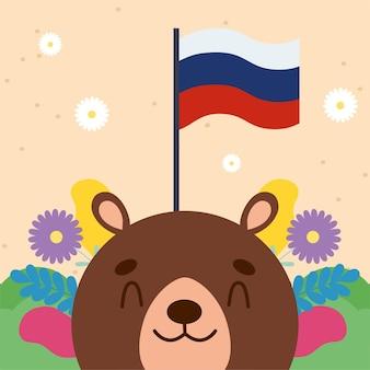 Urso russo e personagem da bandeira