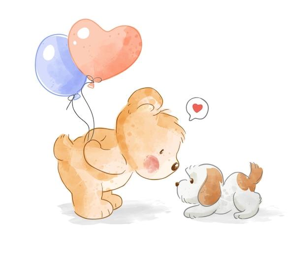 Urso segurando balões e ilustração de cachorrinho