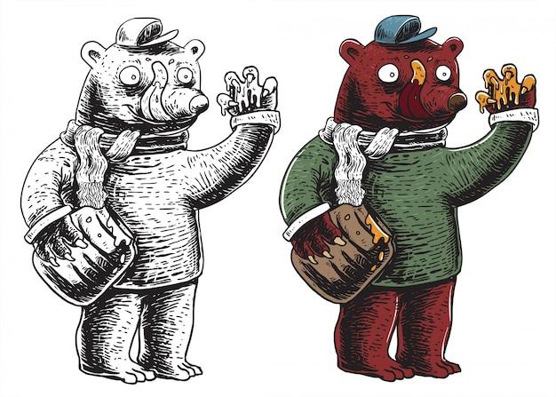 Urso segurando o pote de mel e comendo mel - ilustração de arte