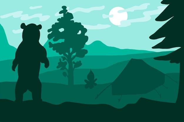 Urso selvagem em pé no acampamento perto da floresta e montanhas. paisagem ao ar livre e panorama em cores verdes. vetor