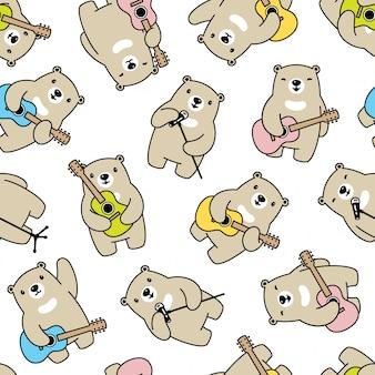 Urso sem costura padrão cantor de músico de guitarra polar
