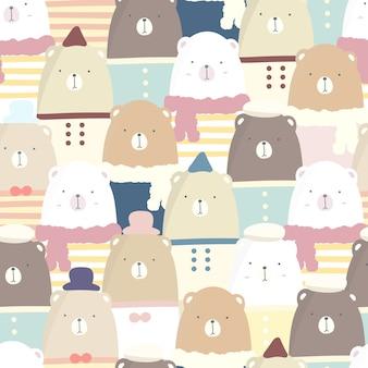 Urso sem costura padrão cor pastel