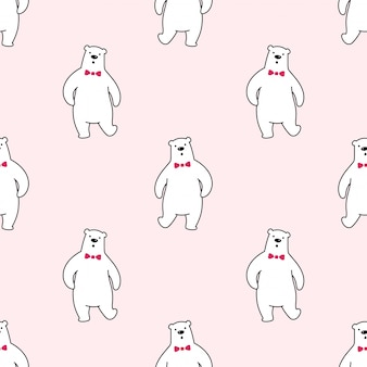 Urso sem costura padrão polar gravata borboleta