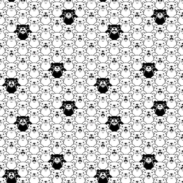 Urso sem costura padrão polar teddy cartoon ilustração de personagem animal de estimação doodle