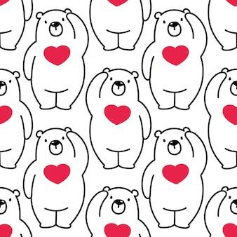 Urso sem costura padrão polar vector coração valentim