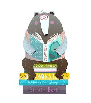 Urso sentado em livros lendo contos de fadas